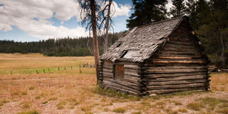 Rustic Mountain Log Cabin Stock Photo