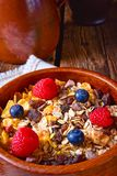 Rustic muesli breakfast with forest fruits Stock Photography