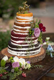 Rustic `Naked` Wedding Cake. With 4 different flavors stock photography