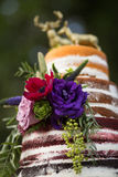Rustic `Naked` Wedding Cake. With 4 different flavors royalty free stock photos