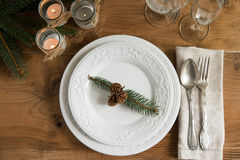 Rustic and natural Christmas table setting Stock Images