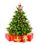 Rustic natural Christmas tree with gifts Royalty Free Stock Image