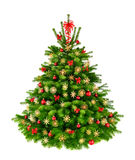Rustic natural Christmas tree. With red baubles, bows and straw stars, studio isolated on white background Royalty Free Stock Photos