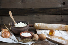 Rustic natural dairy products Stock Images