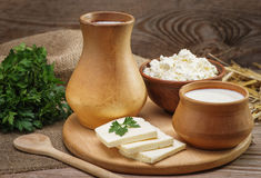 Rustic natural dairy products Stock Photos