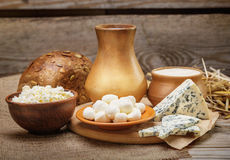 Rustic natural dairy products Stock Photography