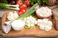 Rustic Natural Dairy Products. On wooden table Royalty Free Stock Images