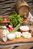 Rustic Natural Dairy Products. On wooden table Royalty Free Stock Photography