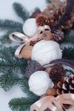 Rustic Nature Components Cristmas Wreath Eco Decorations. Vertical Image. Rustic Nature Components Cristmas Wreath Eco Decorations Royalty Free Stock Images