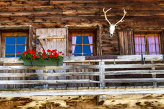 Rustic Old Alpine Hut Stock Photography