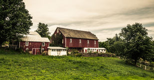 Rustic old barns on a farm in rural York County, Pennsylvania. Royalty Free Stock Images