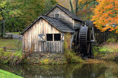 Rustic Old Gristmill in Fall season Stock Image