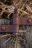 Rustic old metal hinge on weathered barn wood laying in field Stock Image