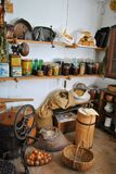 The old pantry. The rustic old pantry with an organic food stock photos