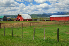 Rustic old red barn and farm. Royalty Free Stock Image