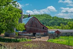 Rustic old red barn historic stock photography