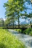 Rustic old wooden bridge over a small stream in a tree-lined alley royalty free stock photo