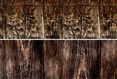 Rustic old wooden texture set banners. Royalty Free Stock Photos