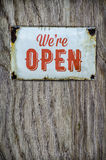 Rustic Open Store Sign On Wood Stock Photo