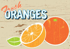 Rustic Oranges Sign. A weathered sign advertising fresh oranges. Something you might find out the front of a farm in the country stock illustration