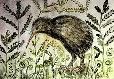 Rustic painting of a kiwi bird in the night with background of varen and leaves. The dabbing technique near the edges gives a soft focus effect due to the Stock Image