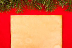 Rustic paper on red velvet Royalty Free Stock Photo