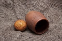 Rustic paraphernalia and food. On a gray background of burlap// isolation of objects royalty free stock image