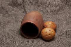 Rustic paraphernalia and food. On a gray background of burlap// isolation of objects royalty free stock photos