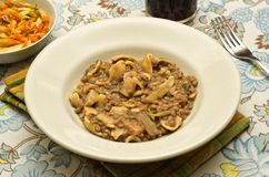 Rustic pasta. Pasta dish flavored with vegetables of the traditional peasant Stock Photography