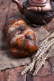 Rustic pastries and tea Royalty Free Stock Images