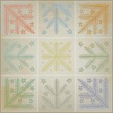 Rustic Patchwork Quilt Concept for Christmas Icons Royalty Free Stock Images