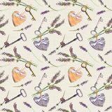 Rustic pattern - lavender flowers, retro keys, textile hearts. Seamless wallpaper for interior design, country style of Stock Image