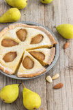 Rustic Pear Frangipane Tart. Homemade Rustic Pear Frangipane Tart! Poached pears, almond filling, shortcrust pastry - delicious Stock Image