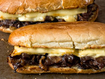 Rustic philly cheese steak sandwich Royalty Free Stock Photos