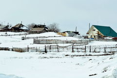 Rustic pictures. Early springtime comes alive life in siberian village stock image