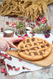 Rustic pie is on the board Stock Images