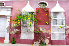 Rustic Pink Architecture. Beautiful pink colonial architecture in the historic center of Cartagena, Colombia stock image