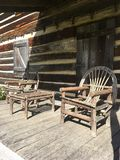 Log cabin porch royalty free stock photo