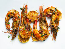 Rustic piri-piri grilled prawn royalty free stock photos