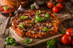 Rustic pizza with minced meat Stock Photos