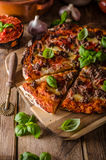 Rustic pizza with minced meat Stock Images