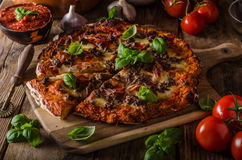 Rustic pizza with minced meat Stock Photography