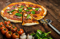 Rustic pizza with salami, mozzarella and spinach. On a clay plate stock images