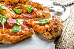 Rustic pizza royalty free stock photo