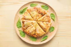 Rustic pizza on wooden background. Top view Royalty Free Stock Photos