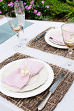 Rustic placemat and table setting Stock Images