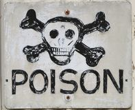 Rustic poison scull cross bones sign Stock Image