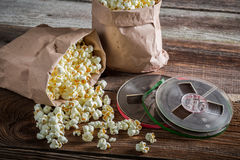Rustic popcorn and reel tapes Stock Images