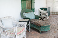 Rustic porch seating Stock Image