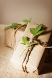 Rustic present boxes Royalty Free Stock Image